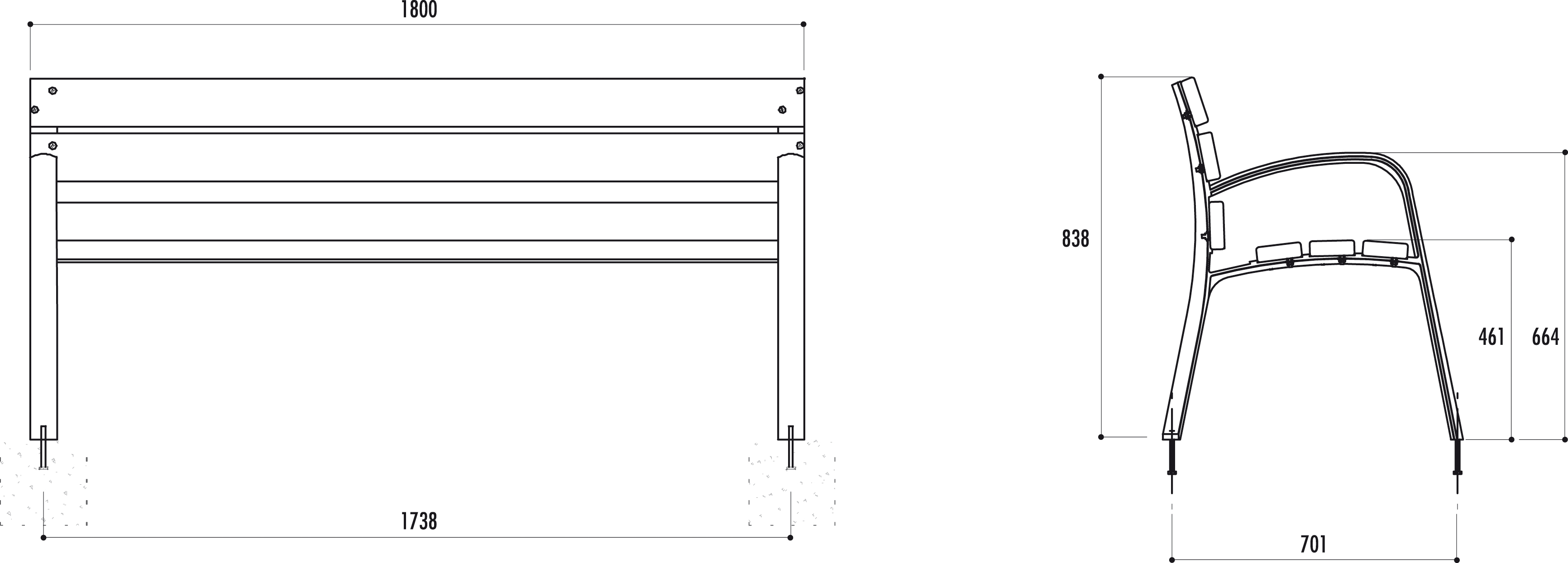 banc public en bois et fonte modo mobilier urbain banc avec accoudoir net collectivit s. Black Bedroom Furniture Sets. Home Design Ideas