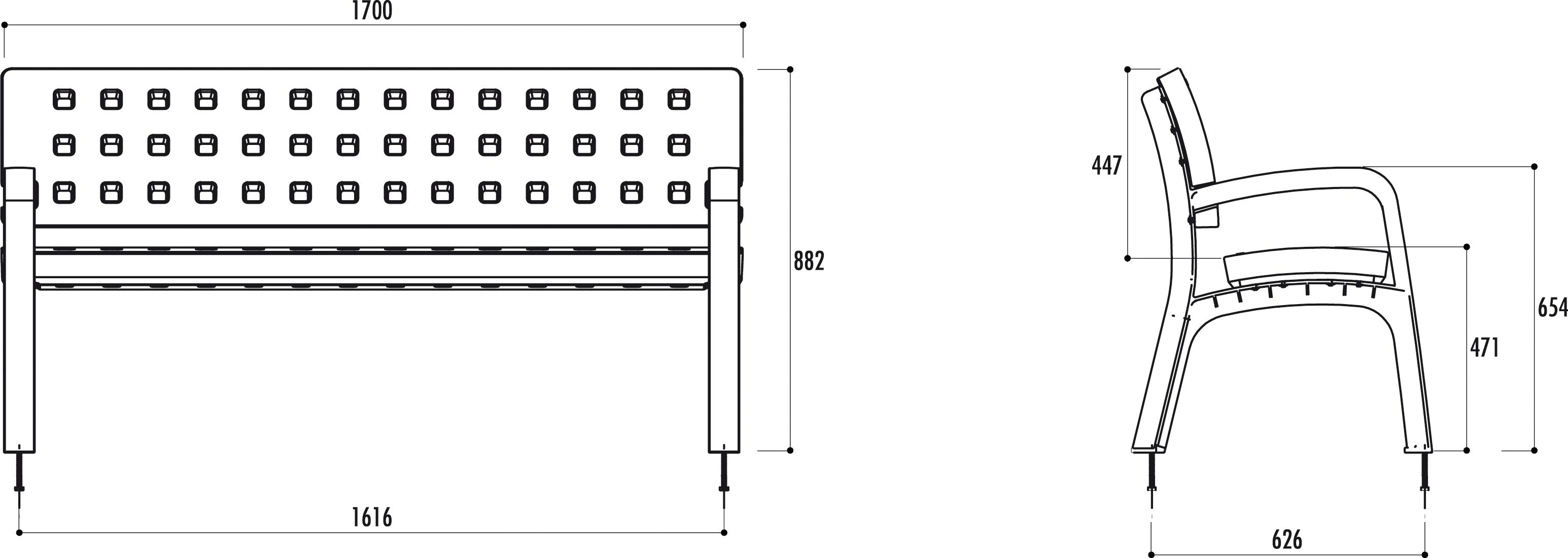 mobilier urbain banc public en poly thyl ne net collectivit s. Black Bedroom Furniture Sets. Home Design Ideas
