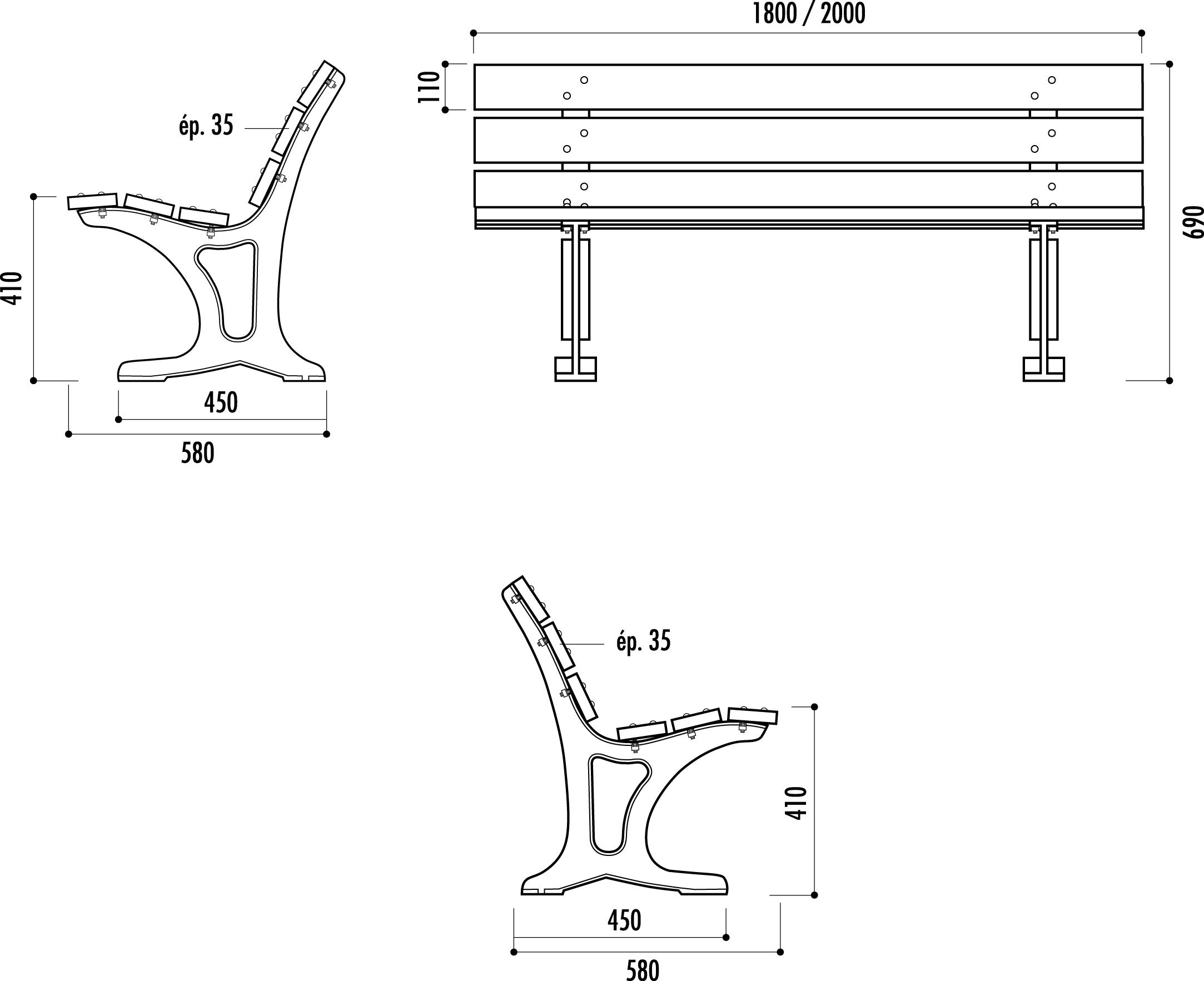 banc ext rieur barcelone mobilier urbain banc public en bois. Black Bedroom Furniture Sets. Home Design Ideas