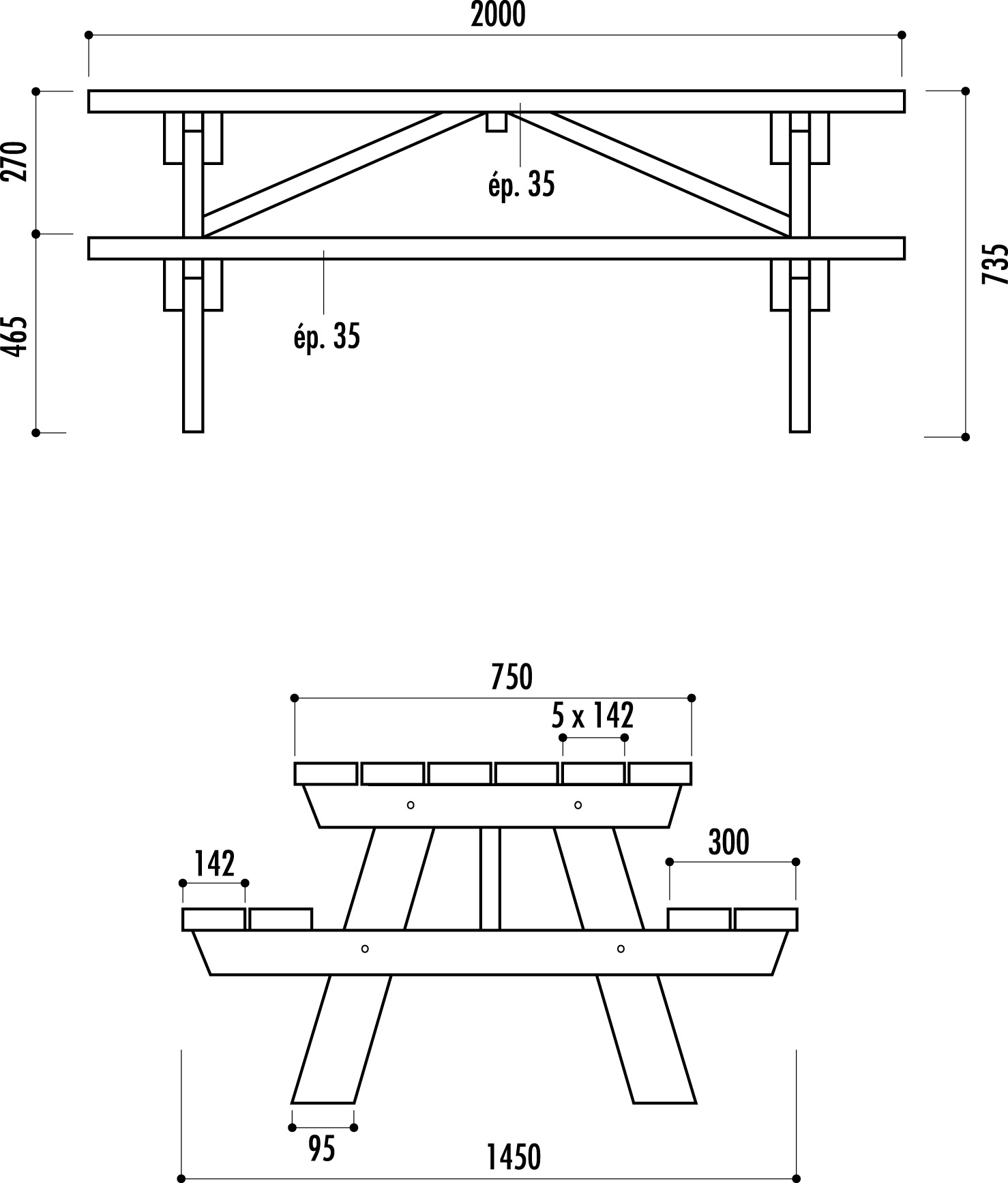 table pour aire de repos en bois table d 39 autoroute table. Black Bedroom Furniture Sets. Home Design Ideas