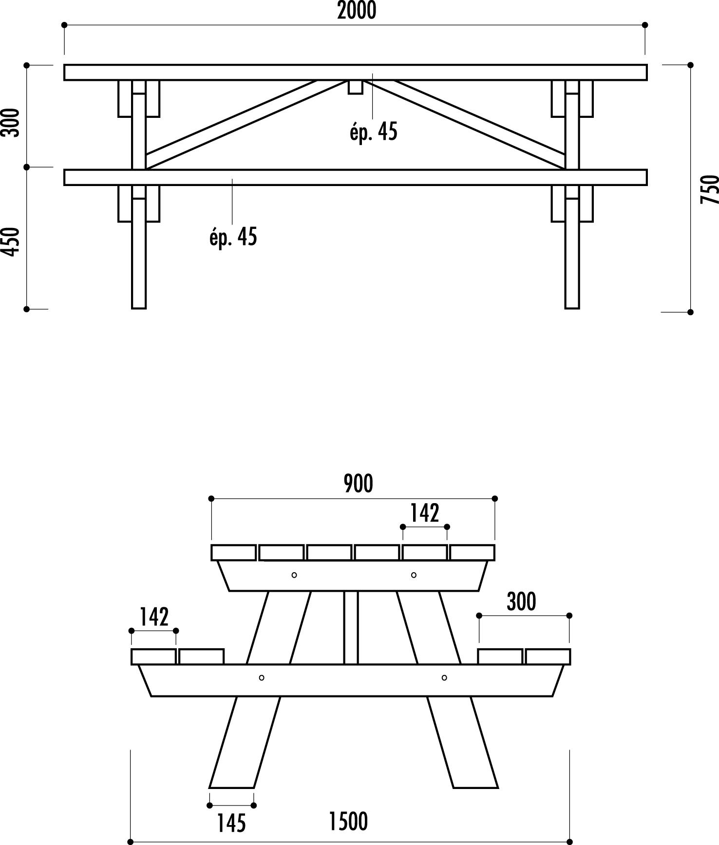 dimensions de la table pique-nique en bois BERLIN - Net Collectivités