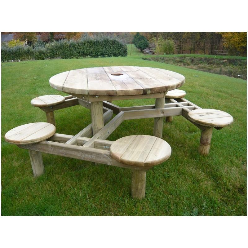 table de pique nique ronde en bois forest table en bois. Black Bedroom Furniture Sets. Home Design Ideas