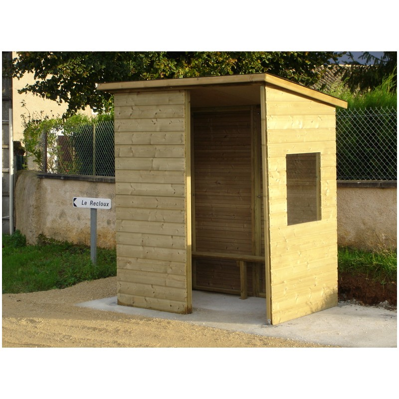 abri bus en bois station de bus mobilier urbain. Black Bedroom Furniture Sets. Home Design Ideas