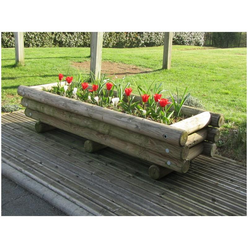 Jardini re en rondin de bois rectangulaire jardini re en rondin de bois 720 l - Jardiniere bois ...
