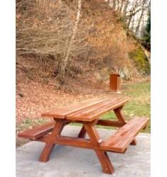Table pique-nique béton aspect bois