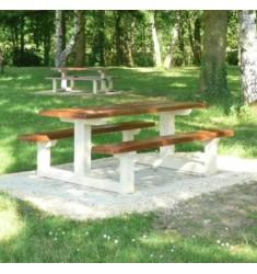 Table pique-nique en béton effet bois