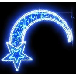 Visuel du décors pour poteau : étoile Filante à LED bleue et cordon à LED blanc - Net Collectivités