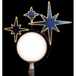Décoration de Noël pour lampadaire boule : Triple étoile - Net Collectivités