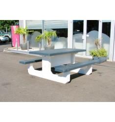Table de Pique Nique Béton Bicolore
