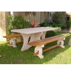 Table pique nique avec banquette en béton/bois Leonis