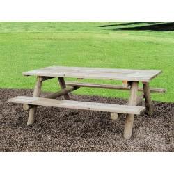 Table pique nique en bois et piètement rond