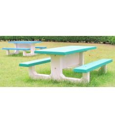 Table de Pique Nique Béton Bicolore rectangulaire