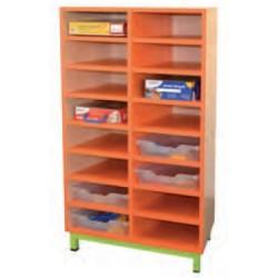 Meuble de rangement à Casiers - 16 Cases fixes pour classe de maternelle - Net Collectivités