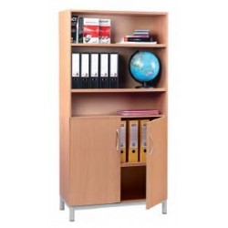 Visuel armoire bibliothèque 2 portes en partie basse avec étagères réglables en hauteur - Net Collectivités