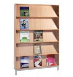 Bibliothèque présentoir tablettes inclinées