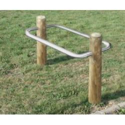 Visuel du double arceaux vélos deux poteaux bois - Net Collectivités