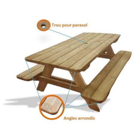 Table Pique-Nique Natura avec détails angles arrondis et trou parasol- Net Collectivités