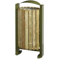 Corbeille sur pied façades en lames bois Arelate 60 L - Net Collectivités