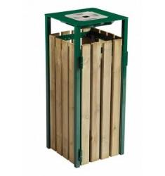 Poubelle à poser ou à fixer métal et lames bois Elysée 50 L ou 110 L