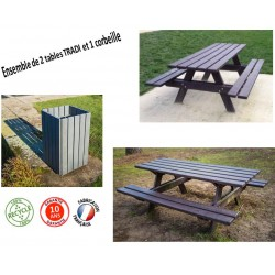 Ensemble de 2 Tables et 1 corbeille extérieure en recyclé