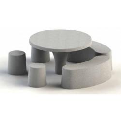 Table de Pique-Nique ronde en Béton ensemble ANNEAU - Net Collectivités