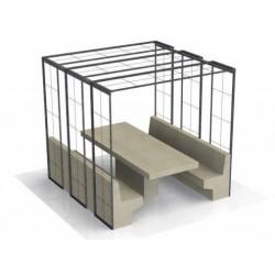 Ensemble table pique nique béton pour aire de repos TREILLES avec ombrière - Net Collectivités