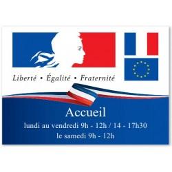 Plaque personnalisable horizontale Loi Peillon pour établissements publics - Net Collectivités