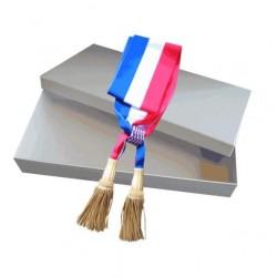 Écharpe tricolore Prestige Maire - 1.8 m ou 2 m - 100 % fabriquée en France - Net Collectivités