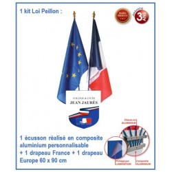 Kit école - Loi Peillon - 1 écusson personnalisable + 2 drapeaux