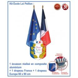 Lot façacde école conforme Loi Peillon - 1 écusson Spécial école + 2 drapeaux
