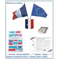 Kit école - Loi Peillon - 1 écusson personnalisable + 2 drapeaux + Charte Laïcité + DDHC