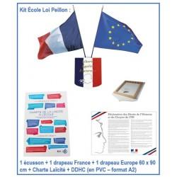 Kit ensemble Laïcité - 1 écusson + 2 drapeaux + Charte Laïcité + Déclaration des Droites de l'Homme