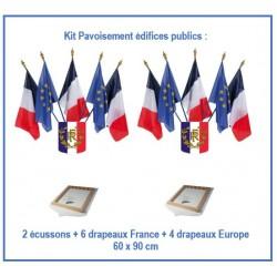 Kit pavoisement pour Mairie - le lot de 2 écussons tricolore RF + 10 drapeaux