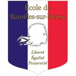 Visuel de l'écusson porte-drapeaux - Tricolore personnalisable + devise - Gamme éco