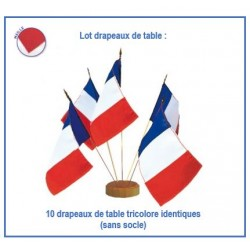 Lot de 10 mini drapeaux tricolores France de table - en maille
