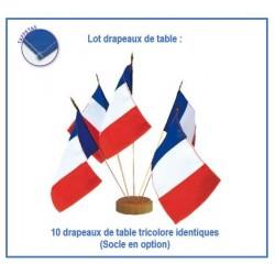 Lot de 10 drapeaux tricolores France pour table - en taffetas - Net Collectivités