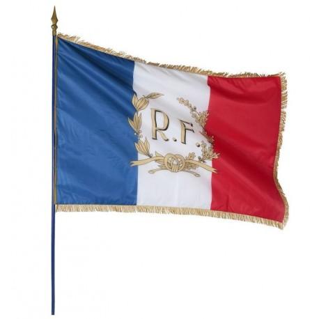 Le drapeau français de façade personnalisé + RF et Palmes dorés - Net Collectivités