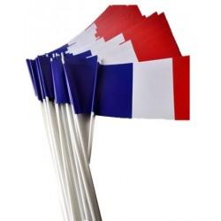Lot de 50 ou 100 drapeaux tricolore français en papier à agiter - Net Collectivités
