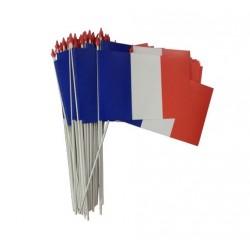 Lot de 100 petits drapeaux français à agiter - matière indéchirable - Net Collectivités