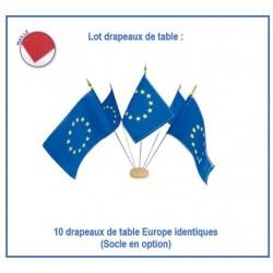 Lot de 10 drapeaux européens de table - en maille - Net Collectivités