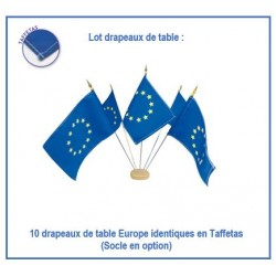 Lot 10 drapeaux Union Européenne de table - en taffetas - Net Collectivités