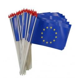 kit 100 petits drapeaux Europe à agiter à la main - 9.5 x 16 cm - matière indéchirable - Net Collectivités