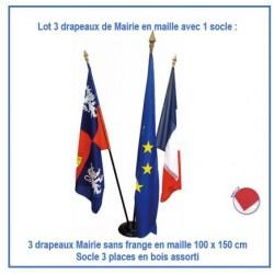 Lot exceptionnel de 3 drapeaux de mairie 100 x 150 cm sans frange + 1 socle en bois assorti