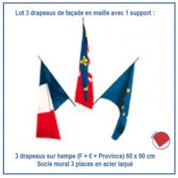 Kit pour façade de mairie : 3 drapeaux sur hampe 60 x 90 cm + 1 porte-drapeaux mural - Net Collectivités