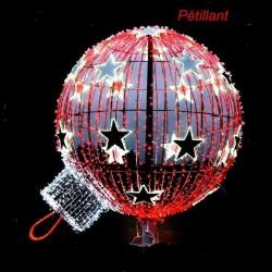 Décor boule étoilées pétillantes lumineuse en 3D sur poteau - décor de Noël pour ville et mairie - Net Collectivités