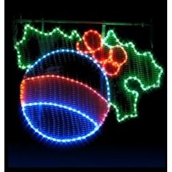 Décor lumineux Figurine Boule de Noël et Houx pour Poteau lampadaire