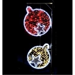 Décor Duo de boules lumineux pour poteau