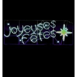 Décoration de rue transversal lumineux texte Joyeuses Fêtes éclat
