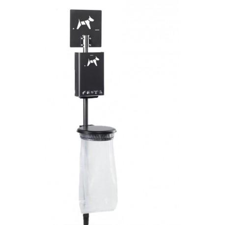 Visuel de la borne de propreté hygiène canine avec poteau et support sac vigipirate de Net Collectivités