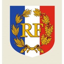 Visuel de l'Écusson porte-drapeaux - RF et palmes - garanti 3 ans - Net Collectivités